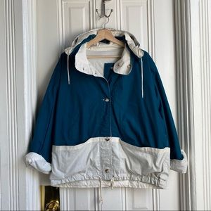 Vintage Náutica Teal and Cream Reversible Jacket